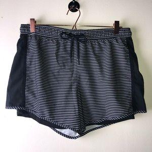 Tangerine Black and White Striped Shorts